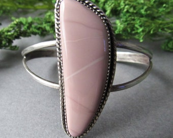Sterling Silver Willow Creek Jasper Cuff Bracelet, Boho Bracelet, Bohemian Bracelet, Mauve Jewelry, Statement Cuff, Adjustable, Skinny Wrist