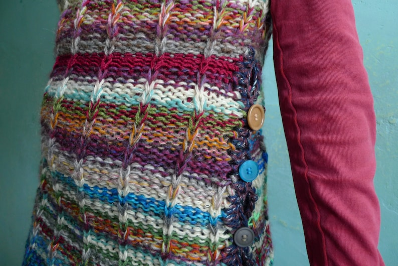 Handmade striped wool sweater vest  sweater without sleeves