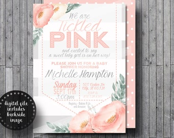 Tickled Pink Baby Girl Shower Invitation | Peonies Floral White Gray Pink | Thank You Cards | FREE Digital Files with Printed Orders