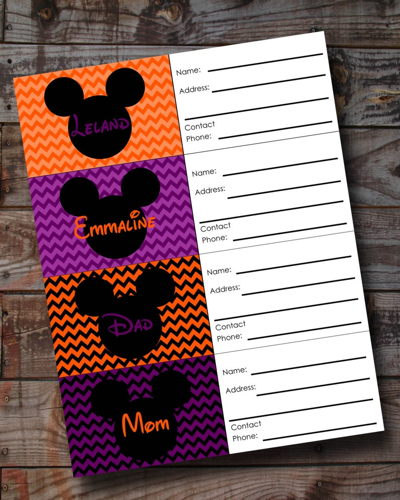 photograph relating to Disney Luggage Tags Printable titled Custom made HALLOWEEN Disney Mouse Bags Tags Electronic PRINTABLE Chevron styles Preset of 4