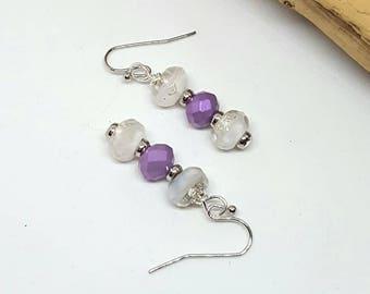 Purple and White Foil Bohemian Earrings - Purple Earrings - White Foil Earrings - Bohemian Earrings - Gift Ideas