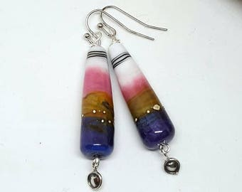 Purple Bohemian Cone Earrings - Purple Earrings - Bohemian Earrings - Cone Earrings - Gift Ideas for Her