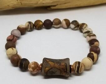 Men's Tibetan Jasper Bracelet - Men's Jewelry - Men's Bracelet - Tibetan Bracelet - Jasper Bracelet - Stretch Bracelet - Meditation Jewelry