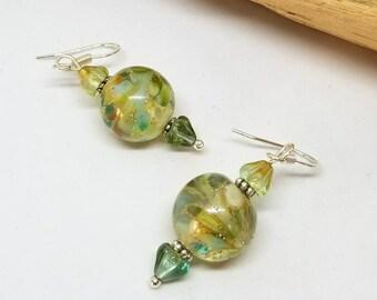 Green Swirl Bohemian Earrings - Blue Earrings - Green Earrings - Swirl Earrings - Bohemian Earrings