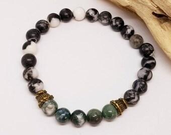 Men's Green Jasper and Stone Bracelet - Men's Jewelry - Men's Bracelet - Green Jasper Bracelet - Stretch Bracelet - Gifts for Guys