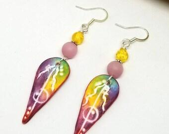 Bohemian Pink and Yellow Earrings - Bohemian Earrings - Pink Earrings - Yellow Earrings - Gifts for Her