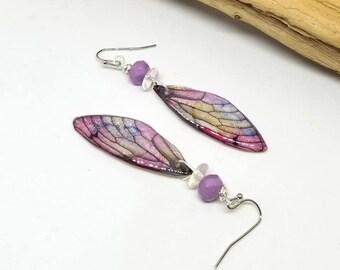 Purple Fairy Dragonfly Earrings - Purple Earrings - Fairy Earrings - Dragonfly Earrings - Gifts for Her