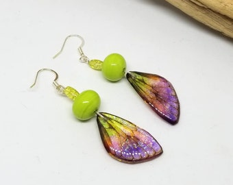 Lime Green Fairy Dragonfly Earrings - Lime Green Earrings - Fairy Earrings - Dragonfly Earrings - Gifts for Her