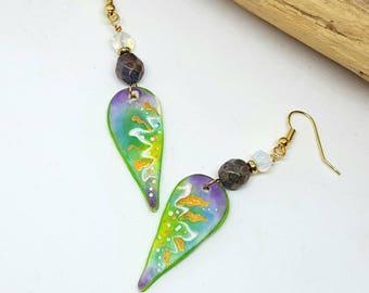 Purple Sunburst Earrings - Purple Earrings - Sunburst Earrings