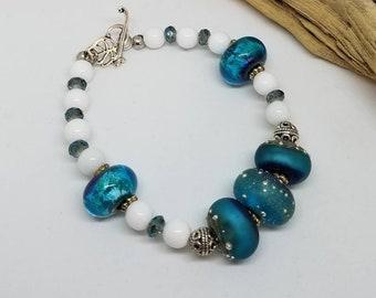 Ocean Blue Bohochic Bracelet-  Ocean Blue Bracelet - Bohochic Bracelet - Bohochic Jewelry - Boho Chic Jewelry - Gifts for Her