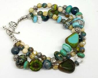 Green Bohemian Three Stranded Bracelet - Green Bracelet - Bohemian Bracelet - Three Stranded Bracelet - Gift Ideas