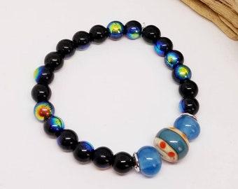 Black and Blue Flash Bracelet - Black Bracelet - Blue Bracelet - Stretch Bracelet - Gift Ideas