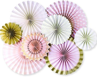 party fans - gold wedding decorations - engagement party decorations