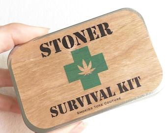 STONER SURVIVAL KIT, stash tin, wood, weed tin, stash box, first aid kit, cigarette case,marijuana,stoner gift cannabis stoner kit for him
