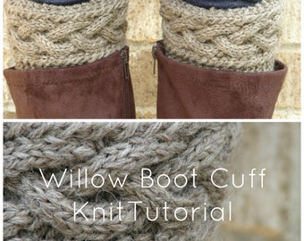 Willow Cable Boot Cuff Knit Pattern Tutorial