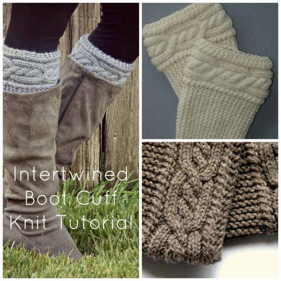 Intertwined Cable Boot Cuff Knit Pattern Tutorial Etsy
