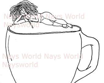 Digital Stamp,Me & My Cup of Coffee, Coffee, Digi Stamp,Stamps, Female digital stamp