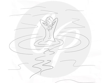 Digital Stamp, Skinny Dipping, Woman in the Ocean, Woman Digital Stamp, Swimming, Woman Swimming