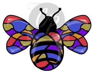 Digital Stamp, Cut File, Bee Funky, Funky Bee, Bee, Bee Zentangle, Zentangle, Bee Embellishment, Embellishment