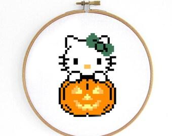 Halloween Hello Kitty Cross Stitch Pattern