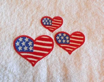 Embroidery Design, Patriotic heart, filled stitch embroidery design, 3 sizes, Memorial Day, 4th of July, machine embroidery design