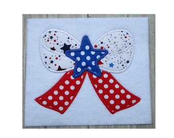 Embroidery Design, Patriotic Bow Applique, 10 sizes machine embroidery design, Memorial Day, 4th of July