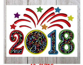 2018 Embroidery design    New Year embroidery    applique     10 sizes    machine embroidery    New Year, 2018