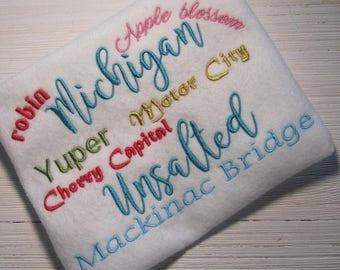 Embroidery Design, Michigan Unsalted, Mackinac Bridge, filled stitch design, 1 size, state design, state of Michigan, yuper, Traverse City