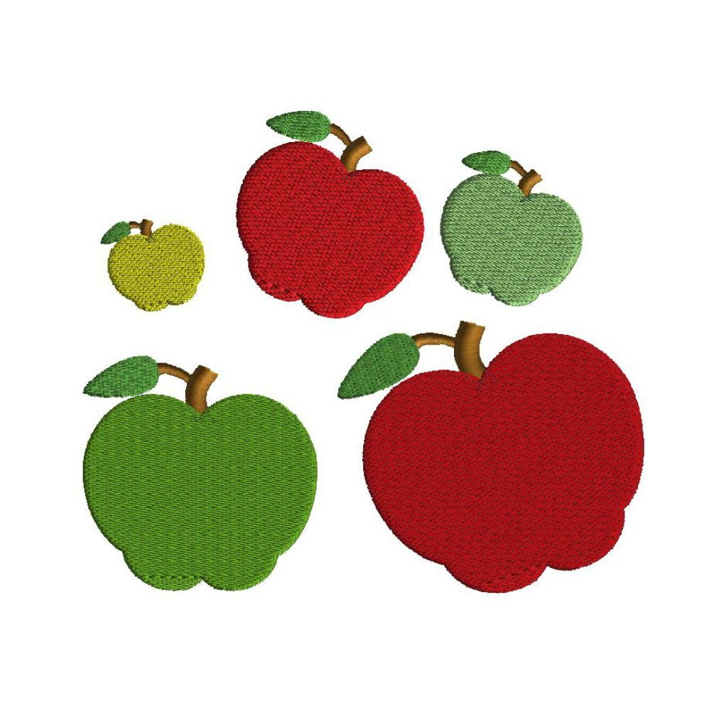 Mini Apple Embroidery Design 5 Sizes Filled Stitch Back To Etsy