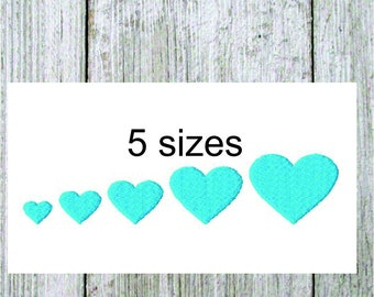 Mini heart embroidery design very small, filled stitch heart 5 sizes, machine embroidery, love embroidery design,