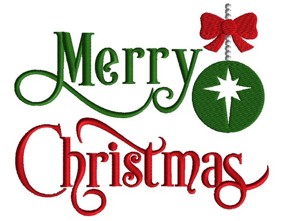 Merry Christmas Embroidery Design Wordart Embroidery 5 Sizes Filled Stitch Christmas Design Holiday Embroidery