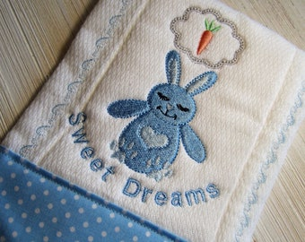 Sweet Dreams Burp Cloth, new baby item, baby accessory, bunny baby item, baby shower gift