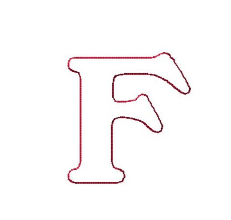 Quilting or Light Stitch Triple Run Machine Embroidery Design 6 Sizes Letter F Outline