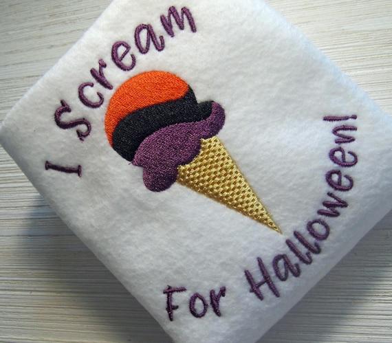 Embroidery design, Halloween, I Scream For Halloween, filled stitch design,  2 sizes, fall, autumn, Ice Cream Cone, Halloween Design