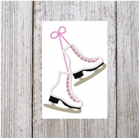 Ice Skates Embroidery Design Applique 2 Sizes Machine Digital Download Winter Sports