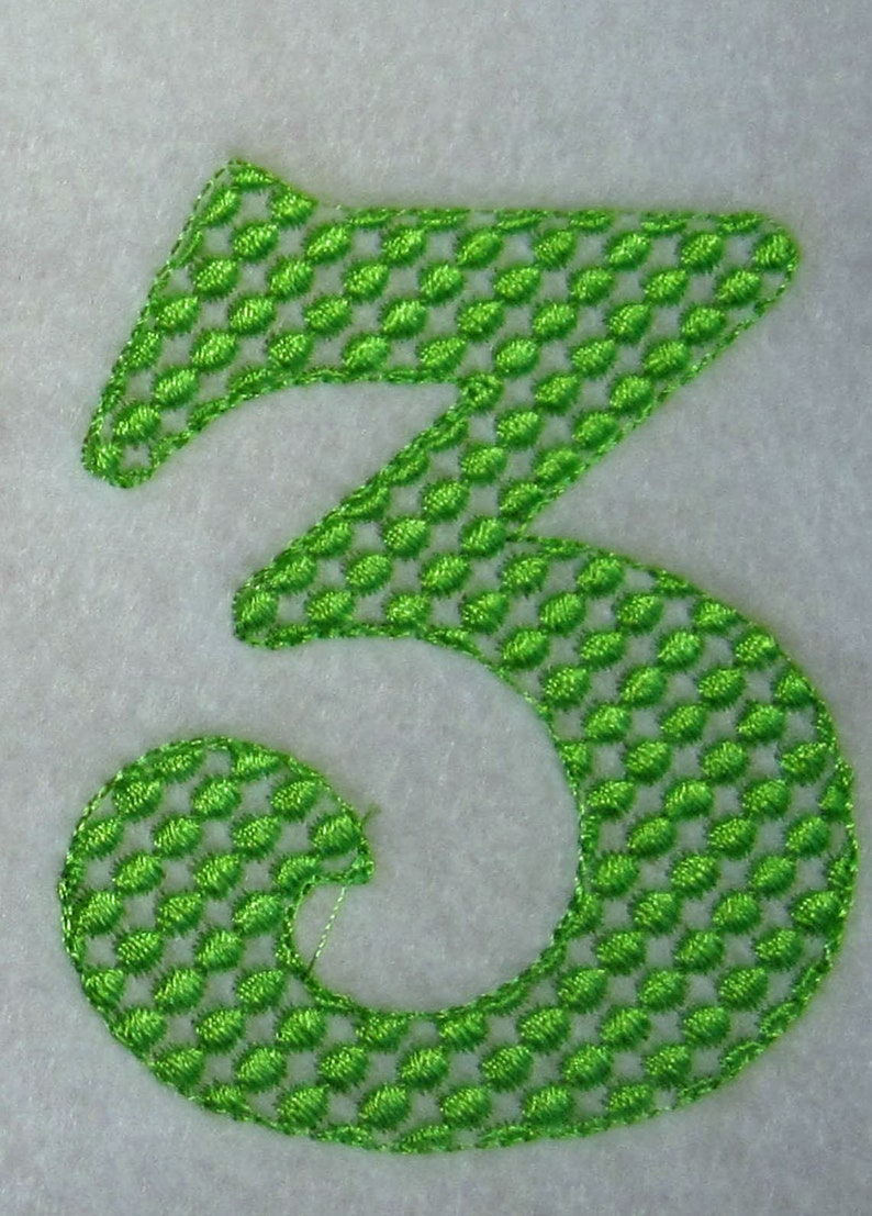 4 sizes 3rd Birthday embroidery Design 3rd Anniversary Design Number Three Motif Number 3 Motif Number 3 embroidery Design
