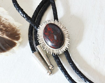 14K Gold-Filled Wire-Wrapped Bolo Tie w Owyhee Jasper Cabochon