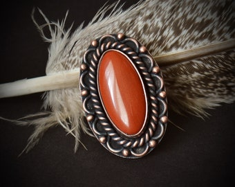 Size 6.5 Copper & Red Jasper Statement Ring -SouthWestern Native American Red Stone Agate Ring -Rose Gold Cowboy Ring For Men or Women