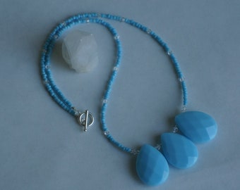cerulean blue glass with larimar necklace
