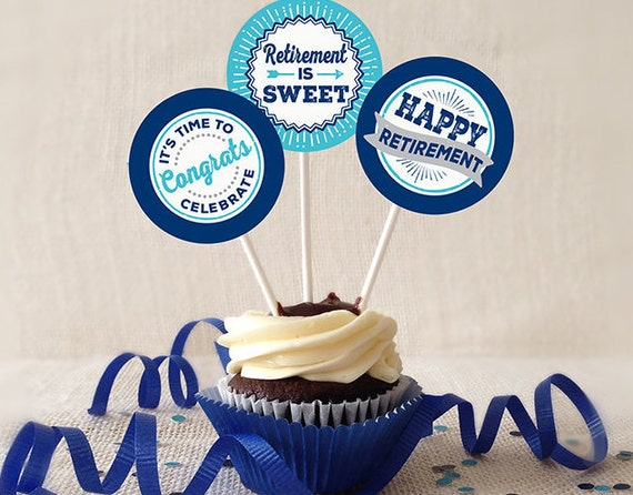 Retirement Cupcake Toppers Printable Navy And Turquoise 2 Etsy