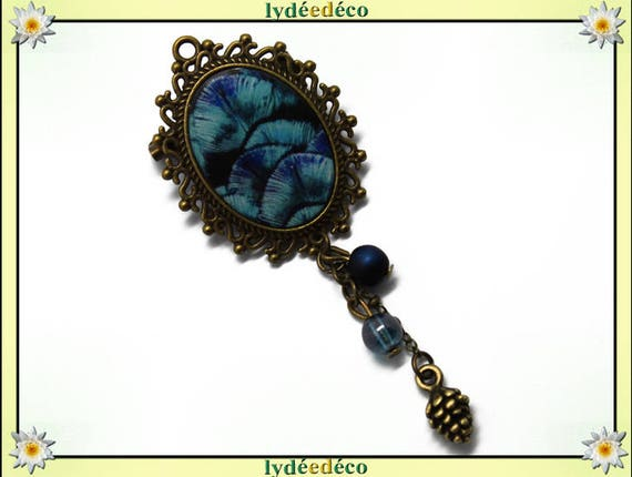 Retro pin brass pendant purple turquoise blue Peacock feather resin oval 18 x 25mm charms beads