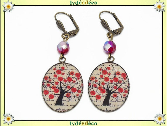 Earrings retro flower poppy life tree red black beige resin brass bronze pearls feast of mothers birthday gift Christmas