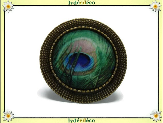 Round ring retro vintage blue Peacock feather green beige resin adjustable brass charm retro 20mm