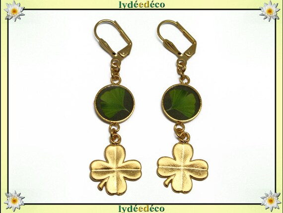 CLOVER 4 earrings leaves brass gold 24 k green lime tree Japan Ginko resin gift birthday mother's day thank you teacher
