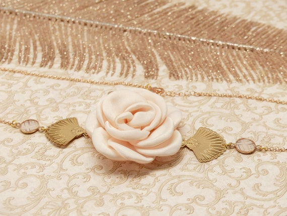 Headband GATSBY golden brass fine gold 24k powder pink Japan art deco fan resin resin jewel ceremony