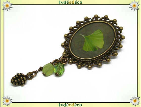 Retro pin resin tree Japan Ginko anise pendant brass oval 18 x 25mm beads charms mothers birthday gift
