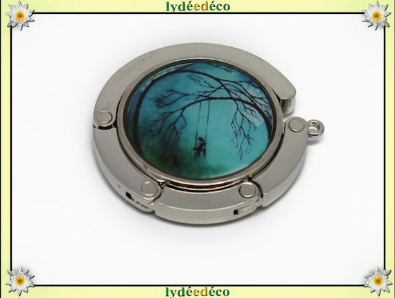 Retro girl bag hook, and turquoise blue black tree resin on metal silver