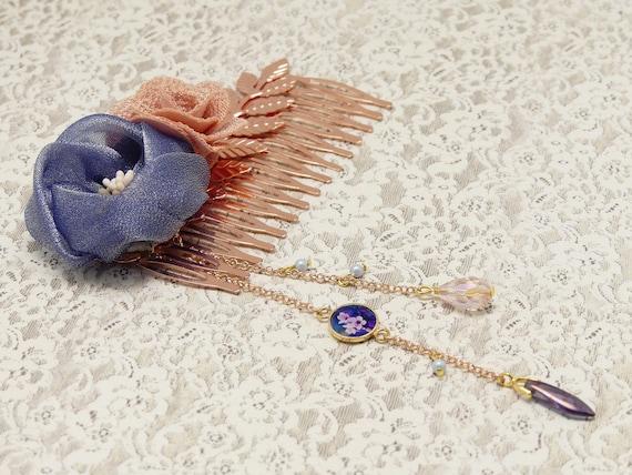 SAKURA hair accessory leaves Japan brass or cherry blossom pearl resin wedding ceremony