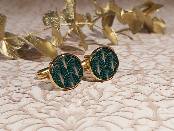 Cufflinks ART DECO costume golden brass resin 14mm evental Japan art deco fete of the peres thank you master birthday gift