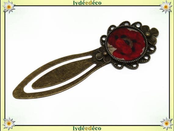 Bookmarks resin beige black red poppy flower bronze brass 20mm mother's day birthday personalised thank you teacher